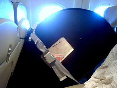 Kantele omalla paikallaan lentokoneessa.